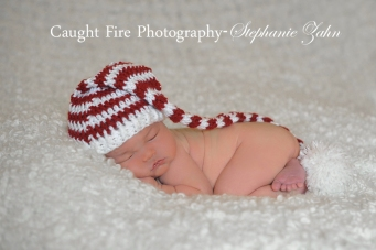 newborn christmas hat,christmas newborn, copyright 2015 caught fire photography, stephanie zahn, newborn photographer
