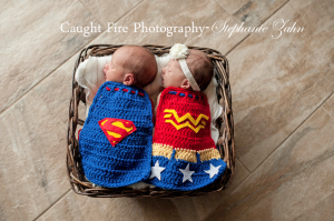 newborn photography, Twin newborn photography, copyright Caught Fire Photography, Stephanie Zahn, 2015 newborn photography, Maryland newborn photographer, Bowie newborn photographer, superman cape prop, wonder woman cape prop, newborn props, Thirty3 stitches etsy